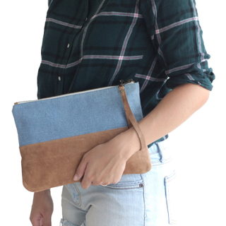 Leather Denim Wristlet Zipper Pouch