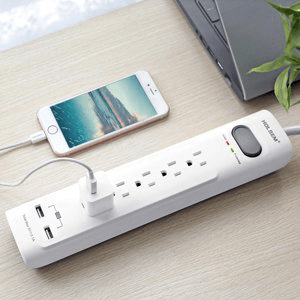 HOLSEM Surge Protector 5 Outlets with 2 USB Ports 4 ft cord Power Strip, White