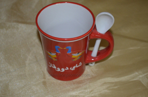 Custom Printing Procelain Coffee Mug with Spoon