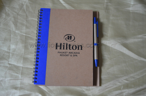 Hilton Hotel Logo ECO Friendly Recycled Paper Spiral Coil Notebook