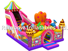 RB04054(9x9x6m) Inflatable candy series theme funcity with slides for child
