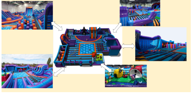 giant inflatable theme park made by Rainbow Inflatables ltd