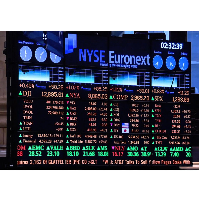 Etiqueta engomada llevada digital a todo color de la pantalla de visualización P10 LED para la acción, financiera, mercado de valores