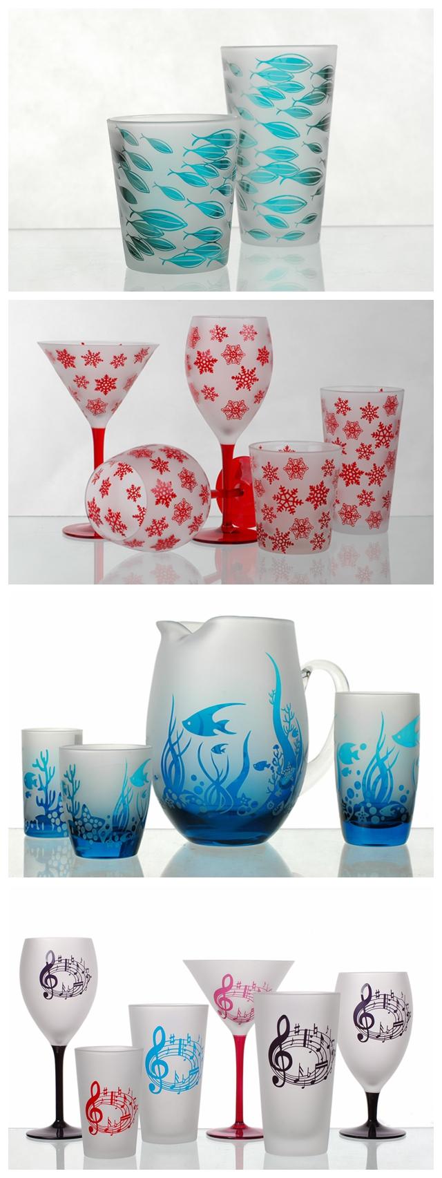 sandblasted glass cup set