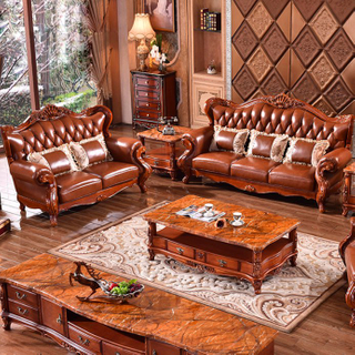 992Y Wood Leather Sofa with Coffee Table for Home Furniture