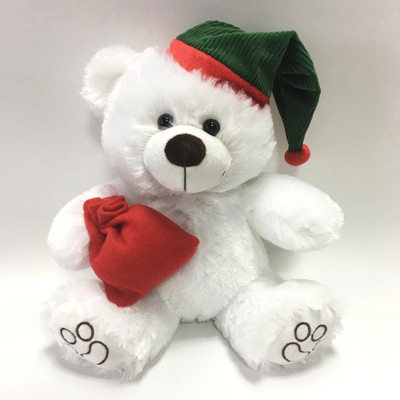 Christmas Stuffed Animal Plush White Bear Teddy Toy