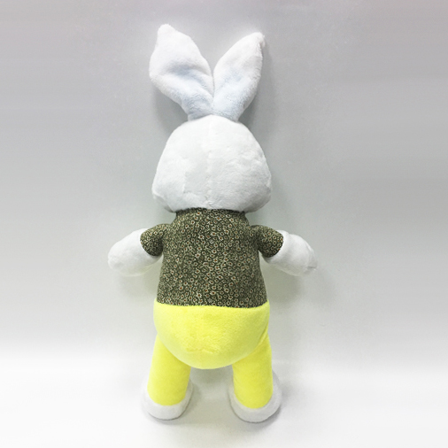 Handsome Gentleman white rabbit plush toys with yellow bib pants