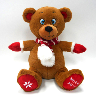 Christmas Decoration Brown Teddy Bear Doll With Christmas Scarf