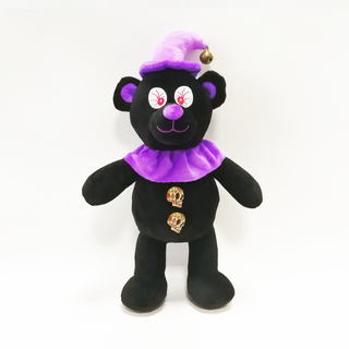 Halloween Black Bears with Purper Hat And Skull Button