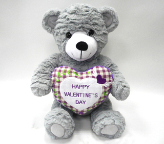 Customized Love Valentine Day Grey Soft Stuffed Plush Toys Bear