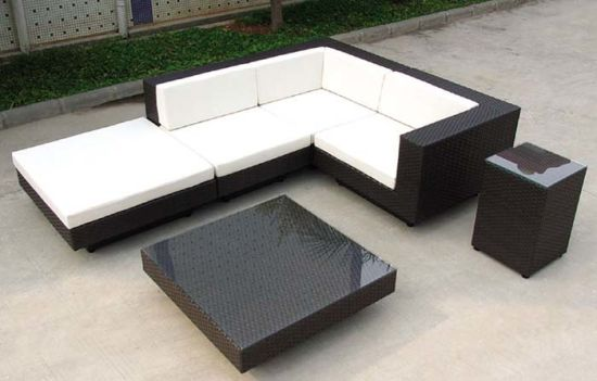 Outdoor Furniture Black Rattan Sofa with Cushion