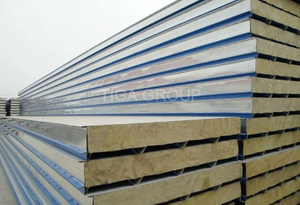 Color Coated/Corrugated Steel Rock Wool Sandwich Wall Panel