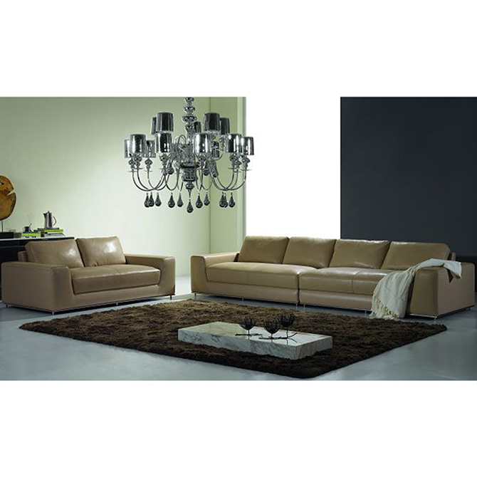 Guangdong Factory Price Grey Leather Sofa