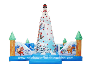RB13001(6x6m)Inflatable Climbing Rock Game For Kids And Adults/ Inflatable Christmas Theme Climbing Game
