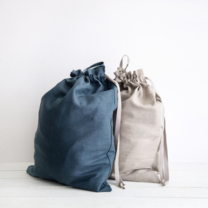 Natural linen Drawstring Backpacks Large laundry bag