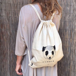 White Canvas Printed Women Drawstring Backpack