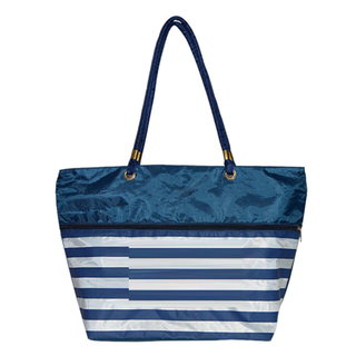 Stripe Poyester Shopping Tote
