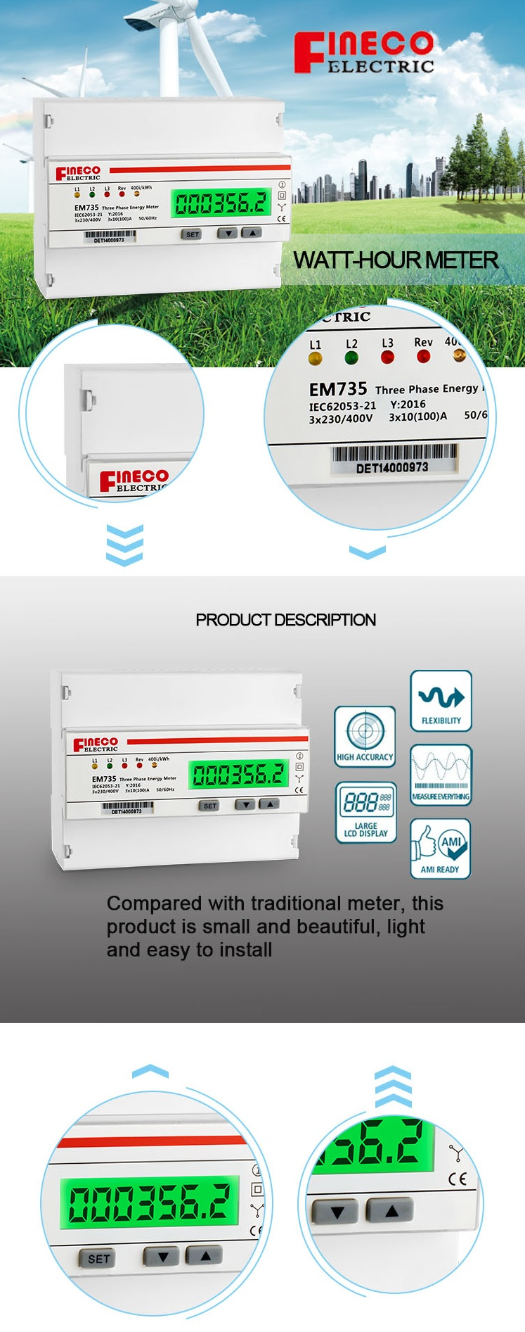Em735 S 10100a 3 Phase 4 Wire Meter Kwh Electric Energy How To 3phase Electrical Technology Meters For Din Rail Mounted With S0 Pulse Output 1