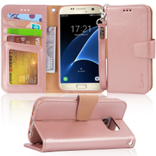 Galaxy S7 New Sytle Wallet Leather Case with Kickstand And Card Slots, The Upgraded Version Wallet Case for Samsung Galaxy S7,rosegold