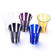 horn shape and vertical stripe colorful drinking glass tumbler