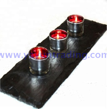 Crafts Natural Slate Candle Holder Can Match Candle jars and lids