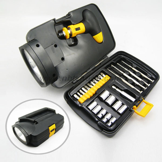 26pcs Hand Tool Box with Light
