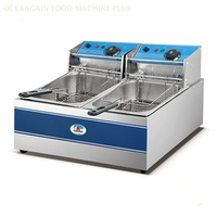 Stainless Steel Table Counter Top Commercial Electric Double Fish Chips Chicken Deep Fryer with Factory Price HEF-82