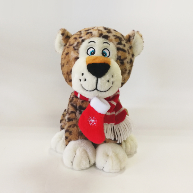 Dotty Leopard Stuffed Plush Toy with Christmas Sock