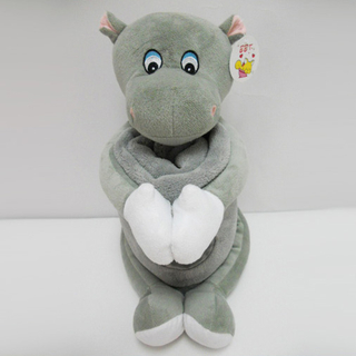 "11 "" Cute Hippo Toy Stuffed Animal Plush Pillow Blanket"