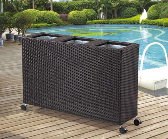 Garden Rattan/Wicker Planter with Wheels for Outdoor Furniture
