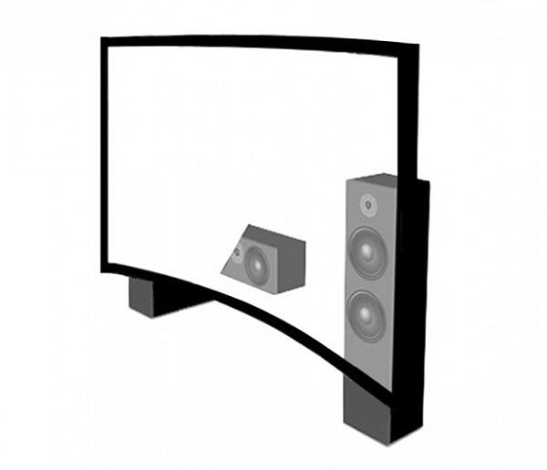 4K Wall Mount Projection Screen Curved Projector Screen For Home Cinema
