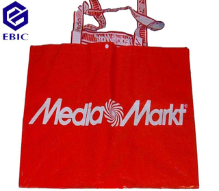 woven shopping bag with embroidery handle