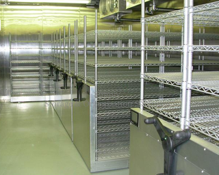 Compact Sliding Wire Shelves on Tracks