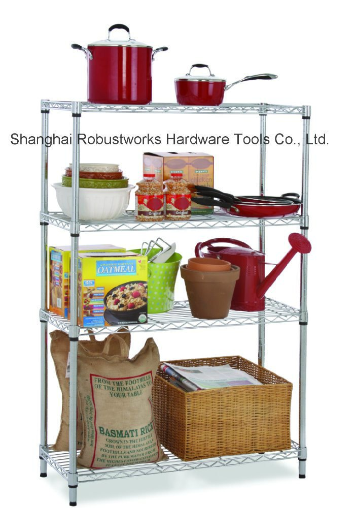 Four Tiers Chrome Plated Home Use Wheeled Wire Shelf (6035170)