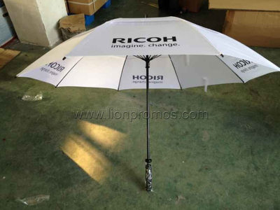 "RICOH Business Gift 30"" Two Layers Fiberglass Windproof Golf Umbrella"