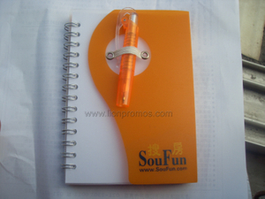 Mini Plastic Cover Custom Logo Coil Notebook with Pen