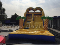 Outdoor Commercial Inflatable Moana Theme Water Slide with Pool for Children