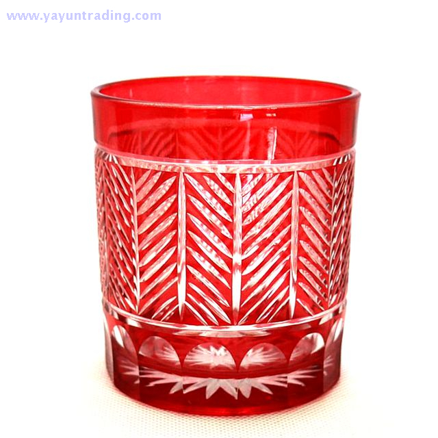 elegant red series hand cut glass candle container for wedding