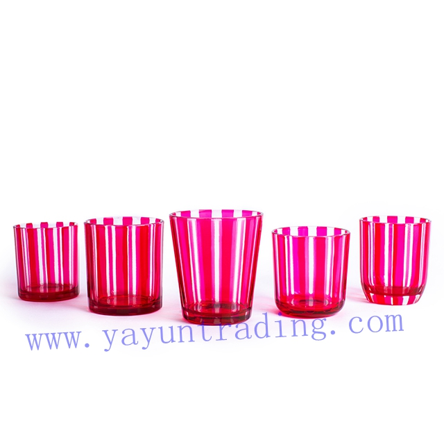 pink hand cut glass candle tumbler