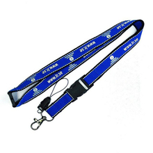 Custom hot sell blue color reflective lanyards with mobile phone clip