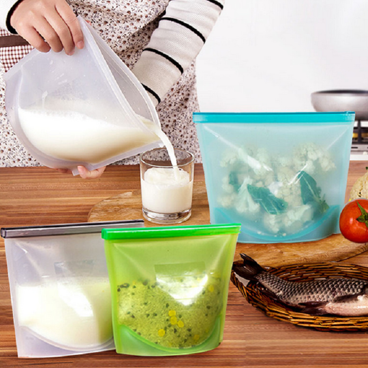 Reusable Vacuum Fruits Vegetables Meat Preservation kits FDA LFGB approve silicone food storage bag 4 pcs per set BPA free Food Grade Cooking 1000 ml 1500ml medium big size silicone food bag