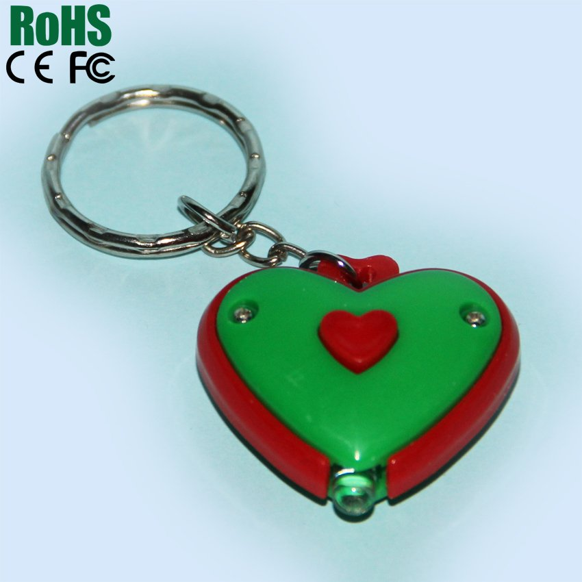 Plastic heart shape led keychain