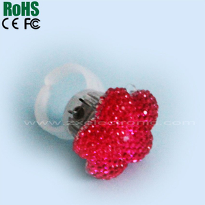 Imitation Diamond Pentagram Led Luminous Lights Flashing Finger Ring Toys