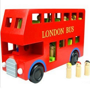 Wooden Vehicle Toys, Wooden Bus Toys for Kids