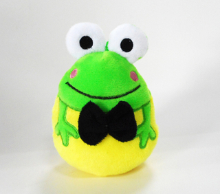 Smiling Green Frog Shape Stuffed Egg Toys with Tie
