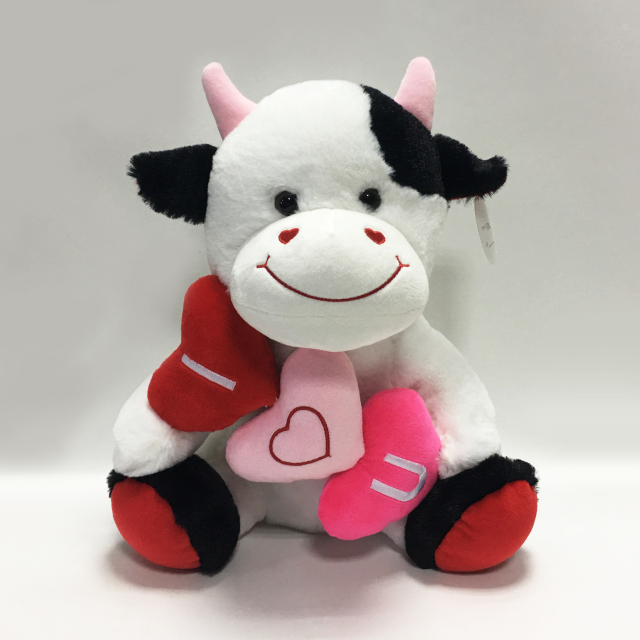 Love Valentine Wedding Soft Plush Cow With Heart Pillow