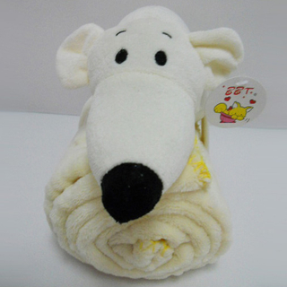 "11 "" Cute White Mouse Toy Stuffed Animal Plush Pillow Blanket"