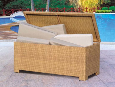 Garden Wicker/Rattan Cushion Box for Outdoor Furniture