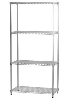 white painted wire shelving with 4 layers shelves
