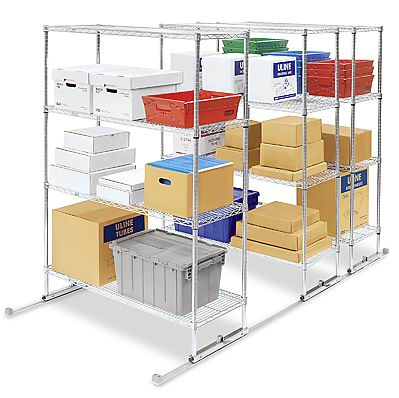 mobile wire shelving with track